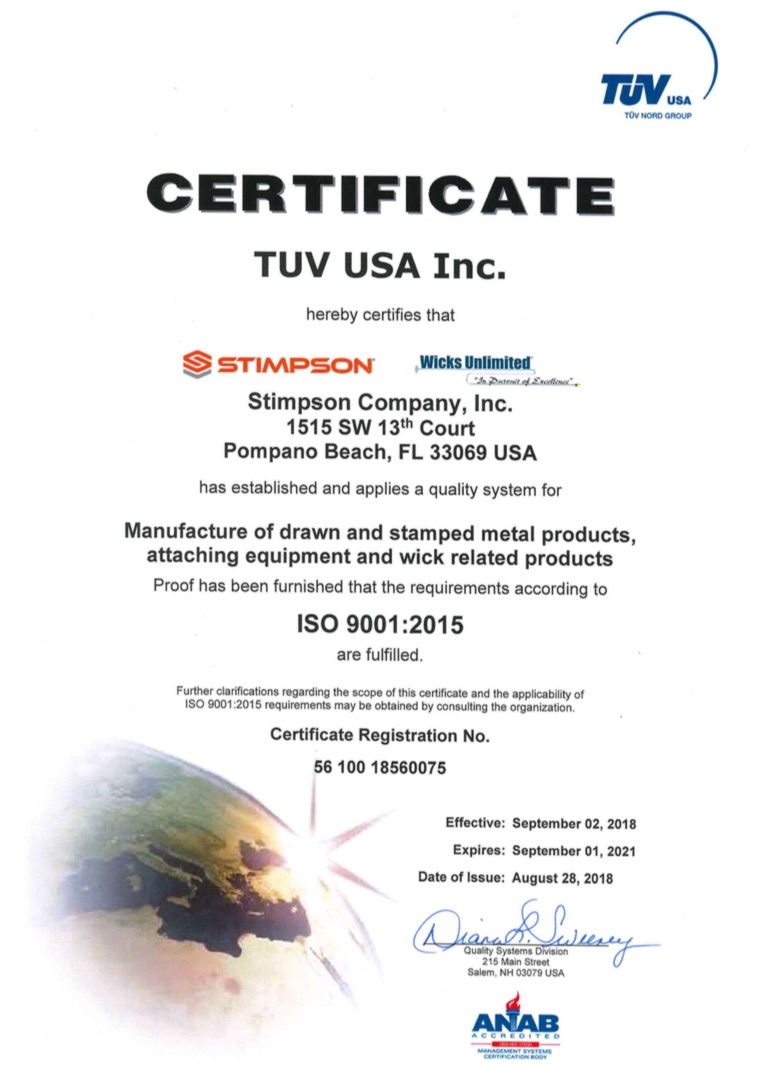 ISO Certification for Stimpson and Wicks