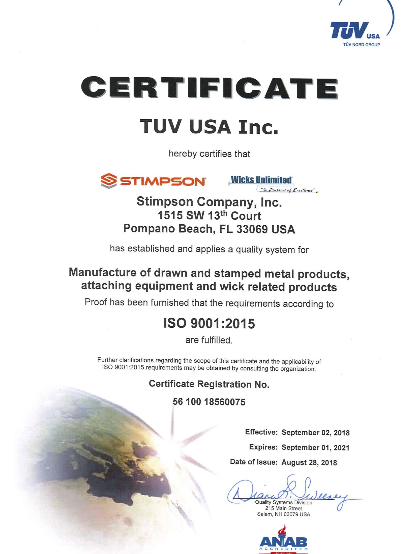 Stimpson-ISO-Certification